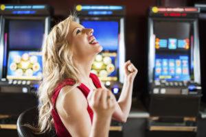 Happy Woman in Casino | Casino Holiday Parties Long Island NY | NYC