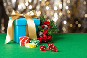 Christmas Gift with Poker Chips and Dice | Casino Holiday Parties Long Island NY